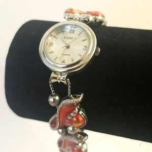 RED HAT CLUB Ladies Silver Watch With Red Hats
